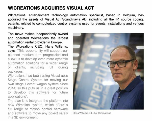 WICREATIONS ACQUIRES VISUAL ACT