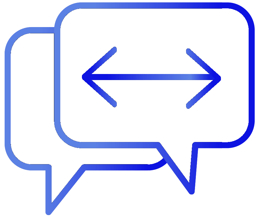 Speech bubbles with arrows icon